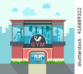 gym building exterior outdoor... | Shutterstock .eps vector #416889322