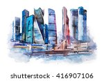 watercolor drawing of moscow... | Shutterstock . vector #416907106