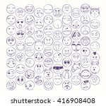 set of smiles  collection of... | Shutterstock .eps vector #416908408