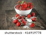 Strawberries In White Bowl Wit...