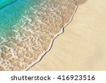 soft wave of blue ocean on... | Shutterstock . vector #416923516