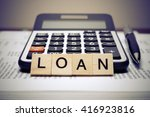 calculator with the word loan... | Shutterstock . vector #416923816