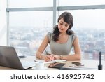 young female clerk sitting at... | Shutterstock . vector #416925742