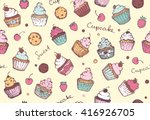 seamless pattern with cupcakes  ... | Shutterstock .eps vector #416926705