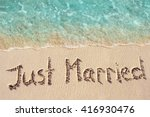 just married written on the... | Shutterstock . vector #416930476
