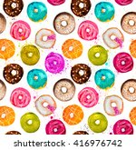 Hand Painted Watercolor Donuts...