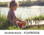 toddler girl playing chess...   Shutterstock . vector #416980006
