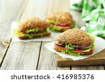 Tasty Sandwiches With Salami O...
