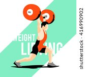 weight lifting athlete. squat... | Shutterstock .eps vector #416990902