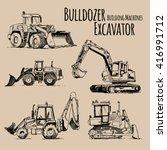 Excavator  Bulldozer. Building...