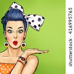Stock photo pop art illustration of girl showing hand vintage advertising poster or flayer of comic surprised 416995765