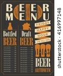 menu for the pub for bottled... | Shutterstock .eps vector #416997148
