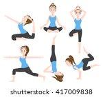 yoga charector 6 set  ... | Shutterstock .eps vector #417009838