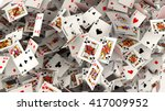 3d render. poker cards falling