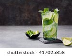 mojito cocktail with lime and... | Shutterstock . vector #417025858