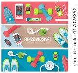 fitness  physical exercise ... | Shutterstock .eps vector #417026392