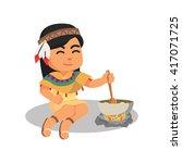 indian girl stirring porridge | Shutterstock . vector #417071725