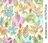 vector floral seamless pattern... | Shutterstock .eps vector #417075316