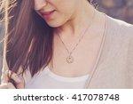 detal of woman wearing a luxury ... | Shutterstock . vector #417078748