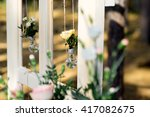 yellow rose in a glass light... | Shutterstock . vector #417082675