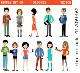 set of people with gadgets.... | Shutterstock .eps vector #417091462