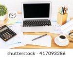 blank black laptop screen on... | Shutterstock . vector #417093286
