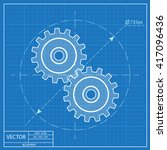 blueprint icon of two gears  | Shutterstock .eps vector #417096436