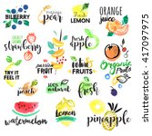 set of hand drawn watercolor... | Shutterstock .eps vector #417097975
