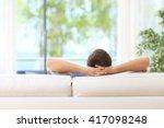 rear view of a single man... | Shutterstock . vector #417098248