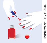 nail polish red manicure on... | Shutterstock .eps vector #417110836