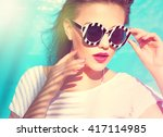 colorful portrait of young... | Shutterstock . vector #417114985