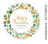 happy ramadan icons set of... | Shutterstock .eps vector #417128512