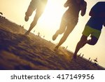fitness people running at the... | Shutterstock . vector #417149956