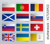 europe flag ribbon set   vector ...   Shutterstock .eps vector #417153922