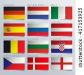 Europe Flag Ribbon Set   Vector ...