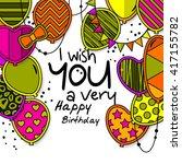 happy birthday greeting card.... | Shutterstock .eps vector #417155782