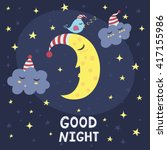good night card with the cute... | Shutterstock .eps vector #417155986