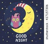 Good Night Card With Sleeping...