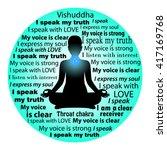 meditating woman. vishuddha...   Shutterstock .eps vector #417169768