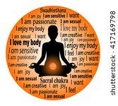 meditating woman. swadhisthana... | Shutterstock .eps vector #417169798
