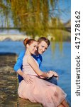 young romantic couple on the... | Shutterstock . vector #417178162