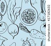 seamless pattern with pumpkin ... | Shutterstock .eps vector #417182632