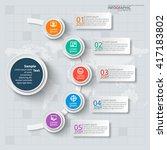 vector abstract 3d paper... | Shutterstock .eps vector #417183802