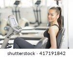 beautiful woman doing bike...   Shutterstock . vector #417191842