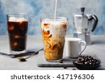 ice coffee in a tall glass with ... | Shutterstock . vector #417196306