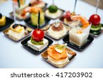 different snacks and appetizers ...   Shutterstock . vector #417203902