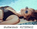 beautiful brown hair woman in... | Shutterstock . vector #417205612