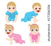 baby boy and girl crawling... | Shutterstock .eps vector #417206206
