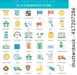 vector e commerce color flat... | Shutterstock .eps vector #417207286