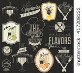 retro vintage style restaurant... | Shutterstock .eps vector #417208222